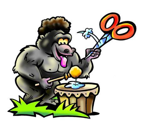 banging: Gorilla Guy Banging A Drum Stock Photo