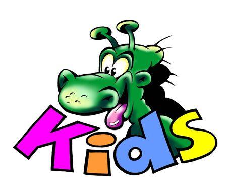 dinosaurus: Green Dino Dragon Over KIDS Text