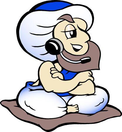 Genie speaking in headset  Vector