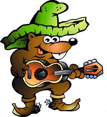 poncho: Mexicano walab� tocando guitarra