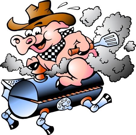Maiale cavalcando un barile BBQ