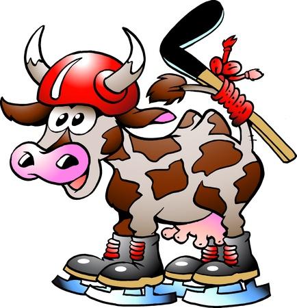 emoticone: Mucca mucca giocando Hockey Sport  Vettoriali