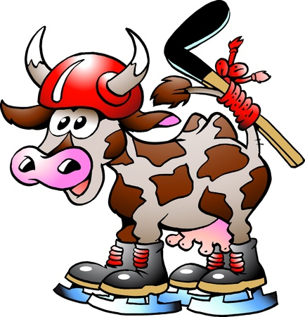 Cow Cow Playing Hockey Sport
