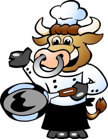 Bull Chef Cook holding a Pan  Ilustração