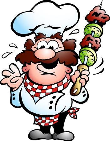 meat skewers: Kebab Chef with a kebab skewer
