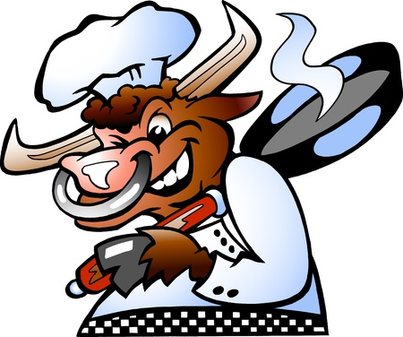Bull Chef holding a Pan over his schoulder