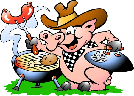 western cartoon: Hand-drawn Vector illustration of an Pig sitting and making BBQ