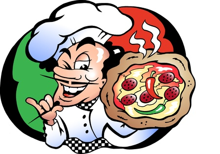 catering: Hand-drawn Vector Illustration eines Italien Pizza Baker