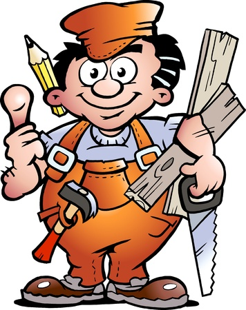 Hand-drawn Vector illustration of an Carpenter Handyman Ilustração