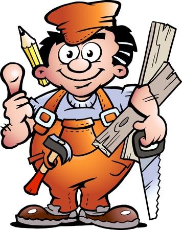 Handgetekende vectorillustratie van een klusjesman Carpenter