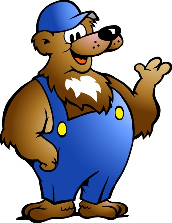 Hand-drawn Vector illustration of an Bear in Blue Overalls
