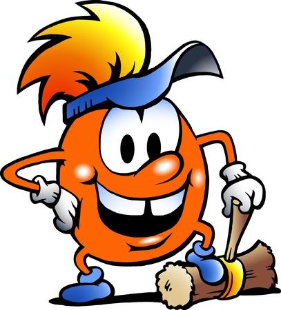 craftsmen: Disegnati a mano illustrazione vettoriale di un Gobling arancione con un grosso martello Vettoriali