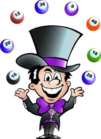 loto: Dessin�es � la main Vector illustration d'un homme JugglingBingo
