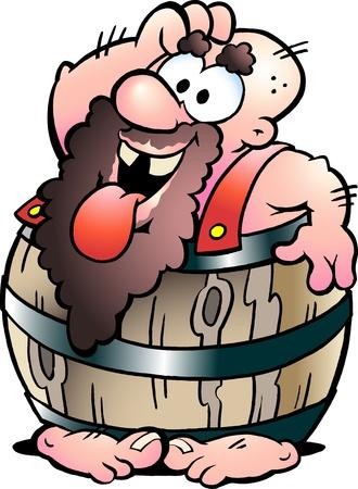 bath tub: Hand-drawn Vector illustration of an Barrel Man