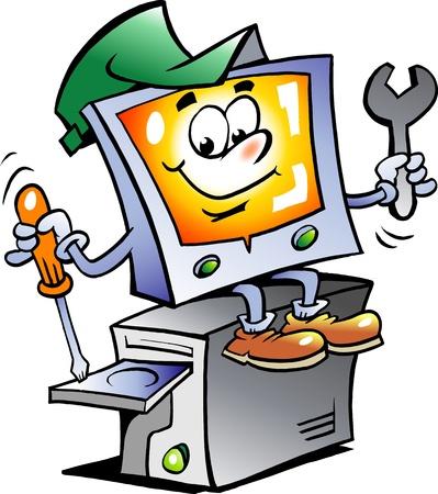 computadora caricatura: Mano ilustraci�n vectorial de un reparador de equipo