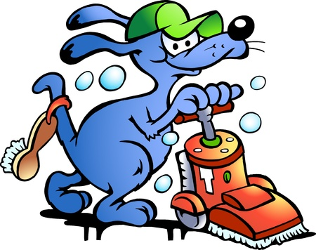 handyman: Hand-drawn Vector illustration of an Dog Carpet Cleaner Illustration