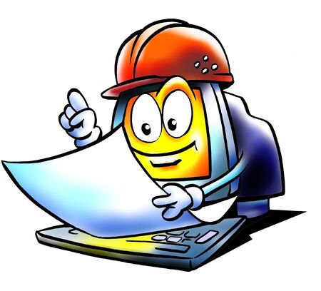 maintains: Computer engineer who maintains a building plan  Stock Photo