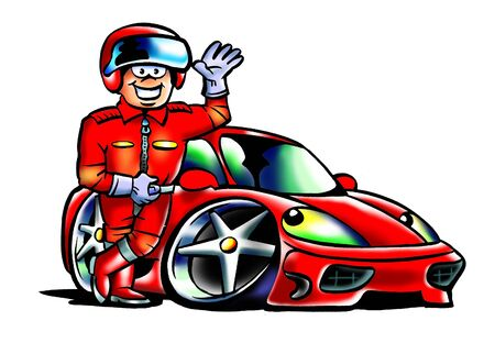 Red Sportscar with a driver in front Фото со стока - 9971170