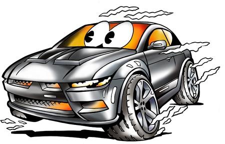 Grey Sports Car racing in full speed