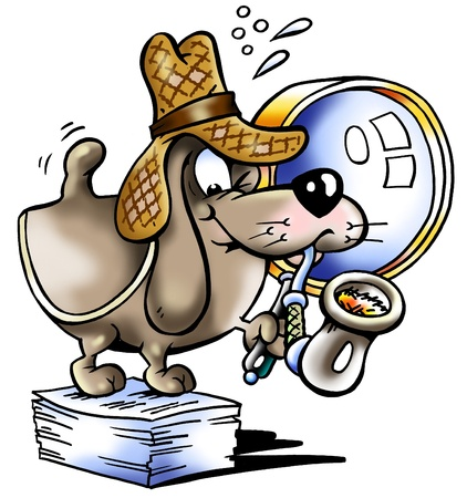 Editor Scherlock Holmes Dog Paper mascot Stock Photo - 9971224