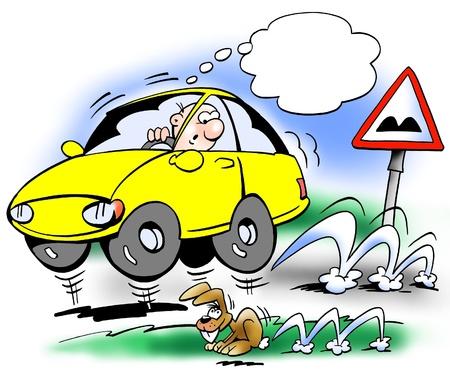 repair road: Bouncing car on the road