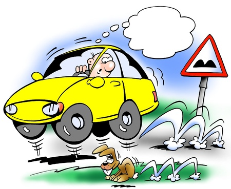 ingeniero caricatura: Bouncing coche en la carretera