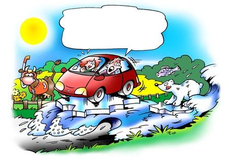 ingeniero caricatura: El coche flota sobre una ola de agua