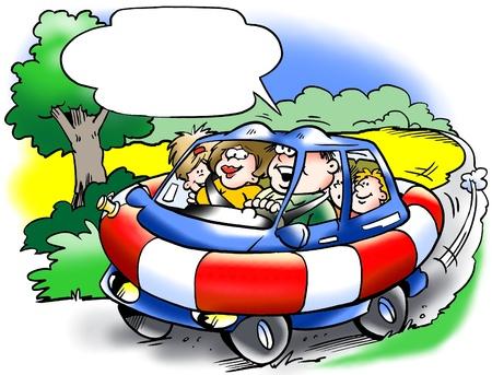 ingeniero caricatura: Choque coche de la familia resistente