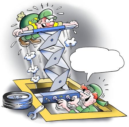 ingeniero caricatura: Inteligente ascensor nuevo y fuerte en el taller