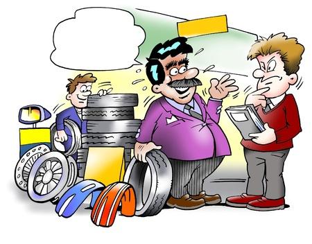ingeniero caricatura: Vendedor de neum�ticos inteligente