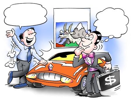 ingeniero caricatura: Comprar un coche y apoyar a una cabra de monta�a