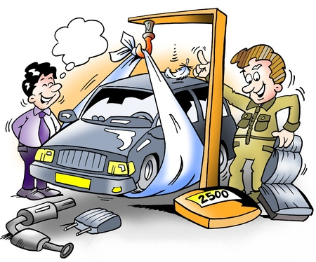mechanic cartoon: Car being down weighted before inspection