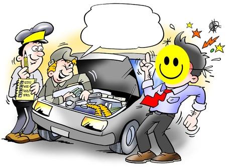 ingeniero caricatura: Smiley inspecci�n de un coche