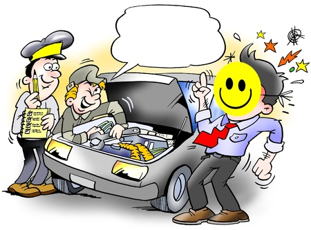 inspecting: Smiley Inspection of an Car