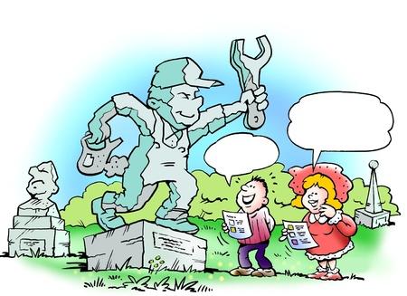 ingeniero caricatura: Escultura Mec�nico