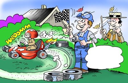 ingeniero caricatura: Ni�o de padres atra�do a cortar hierba