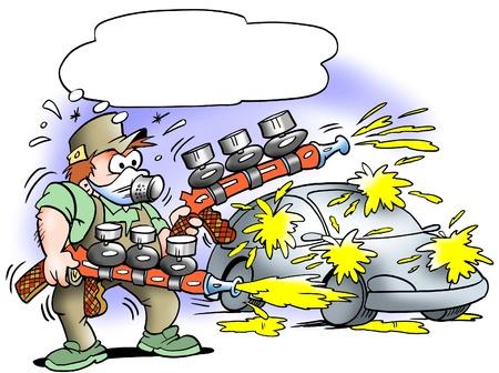 Auto painter with two mega pumpgun  Zdjęcie Seryjne