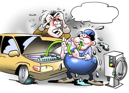 ingeniero caricatura: Refrigerante es aspirado fuera del contenedor