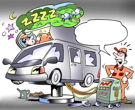 ingeniero caricatura: Pruebas mec�nico para dormir compartimento de un campista