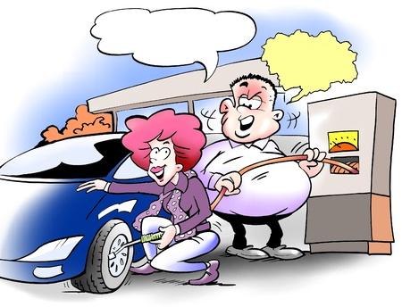 ingeniero caricatura: Se mide la presi�n de neum�ticos de autom�viles