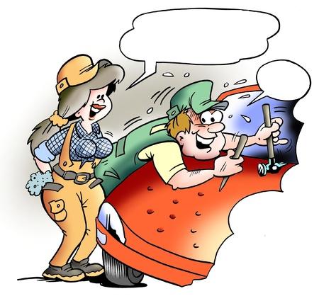 ingeniero caricatura: Mec�nico de Dent en el trabajo