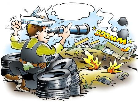 ingeniero caricatura: Batalla del mercado de autom�viles