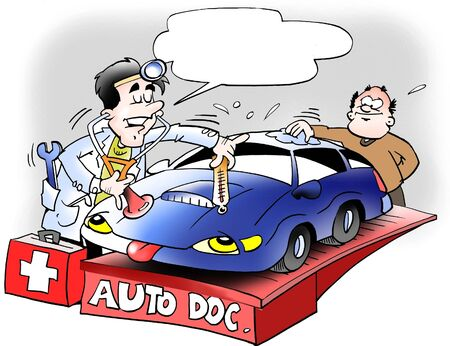 ingeniero caricatura: Doctor mirando el coche  Foto de archivo