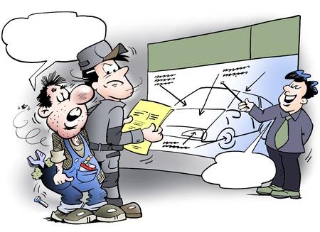 ingeniero caricatura: Old fashioned mec�nico