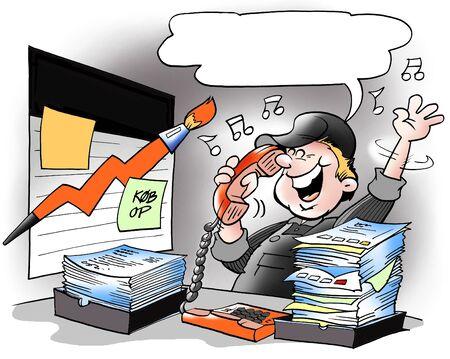 ingeniero caricatura: Buenas ventas en compa��a de pintura