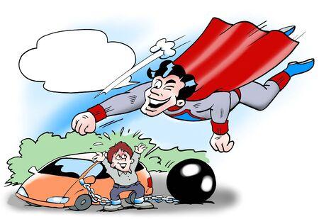 ingeniero caricatura: Superman al rescate del controlador  Foto de archivo