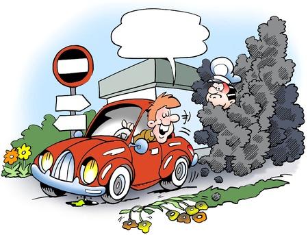 ingeniero caricatura: Conductor en su coche autom�tico