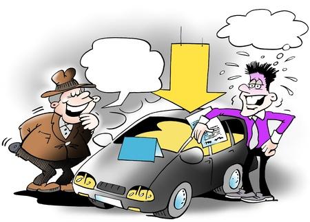 ingeniero caricatura: Vendedor con rostro preocupado...