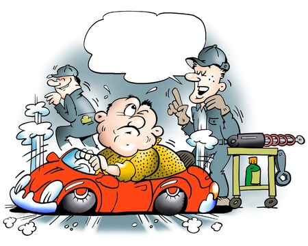 ingeniero caricatura: Too big man in a too small car