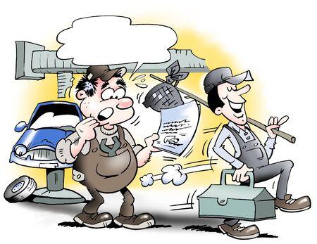 ingeniero caricatura: Mec�nico deja el garaje